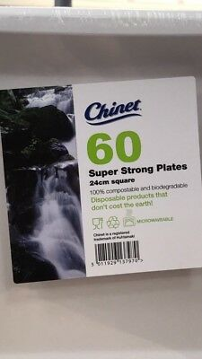 Chinet 60 super strong plates 24 cm Square 100% compostable biodegradable & CHINET 60 super strong plates 24 cm Square 100% compostable ...