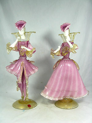 Rare pair Murano glass figures /  Glasfiguren Tanzpaar orig.label  35,5 cm Italy