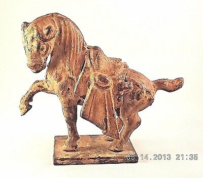 Vintage Cast Iron Chinese Tang Period Horse Replica Sculpture