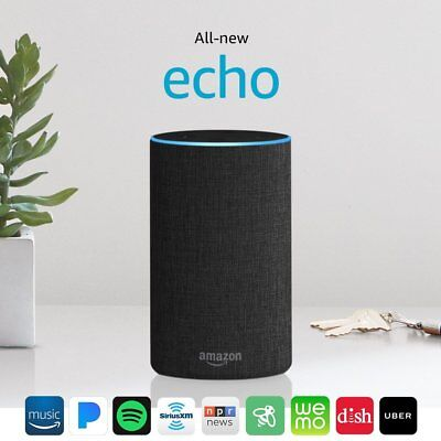 All New Amazon Echo 2nd Generation 2017 w/ improved sound by Dolby - Charcoal