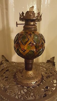 Antique Victorian Stained coloured Glass Oil Lamp Light Vintage STEAMPUNK