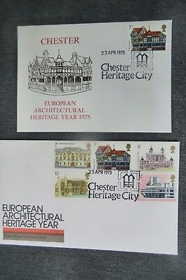 Pair  Fdc Chester European Architectural Heritage Year 1975 First Day Cover