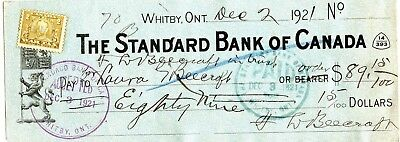 vintage bank cheque the standard bank of canada whitby ont 1921
