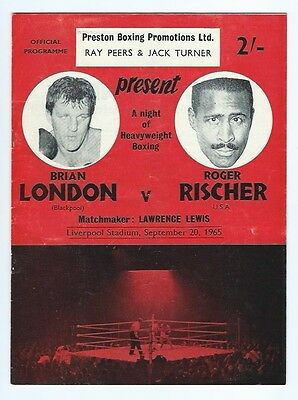 BOXING PROGRAMME TICKET POSTER/FLYER LIVERPOOL 1965 LONDON v RISCHER BLACKPOOL