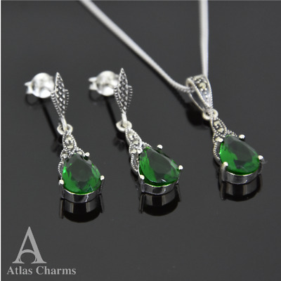 Set Marcasite Green Emerald Earrings Pendant Necklace  Sterling Silver  jewelry