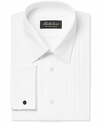 $277 MICHELSONS Men CLASSIC-FIT FRENCH-CUFF WHITE TUXEDO DRESS SHIRT 17.5 36/37