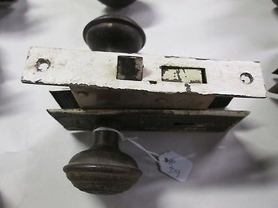 Complete Set Antique Victorian Door Knob Combination W/ Lock & Back Plates # 319