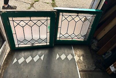 Pr Of Leaded Antique Windows Diamond Geometric Frosted & Clear