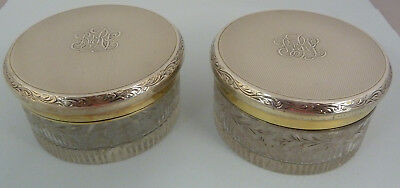 Fine Pair of ASPREY Glass Rouge POTS with Solid SILVER Gilt Lids. LONDON 1936