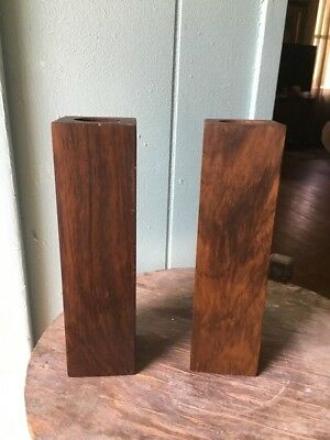 Pair  of Wood Square Mid Century Modern Candle Holders Reinhold Imports Brazil