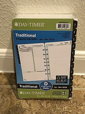 Day-Timer 2018 Planner Refill 2 Page Per Day Traditional Black Tabs Daily Size 4