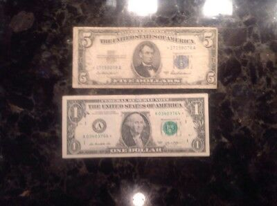1953 A Silver Certificate - STAR NOTE  + 2013  $1 FRN - Boston - STAR NOTE