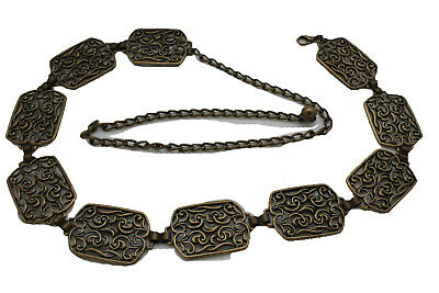 Women Antique Gold Metal Vintage Filigree Ethnic Charms Fashion Belt Size S M L