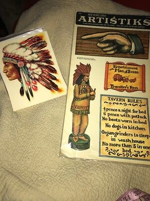Lot Of Vintage Native American Stickers Decals New Old Stock Bar Craft Meyercord