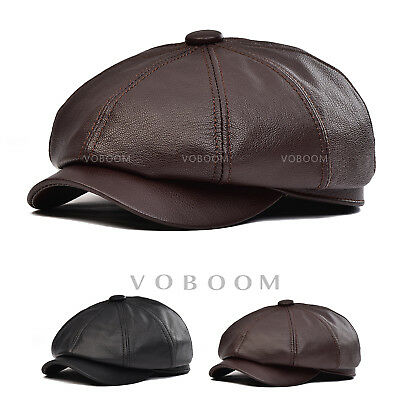 44a2c709022 100% Genuine Leather Newsboy Cap Mens Lambskin Ivy Hat Driving Ascot Flat  Cabbie