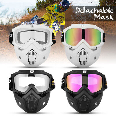 Motorcycle Helmet Face Mask Shield Anti Fog Goggles Detachable Modular Mask