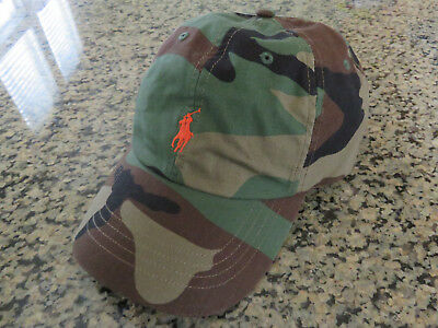 Polo RALPH LAUREN Mens Unisex Camo Baseball Hat Cap Canvas Sports Adjustable 5b5690c23f4