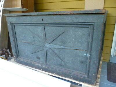 Early American Sea Chest in blue green Paint w/ applied COMPASS design Folk Art