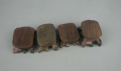 bonsai display stand brown hard wood China wooden carved 4PC small base