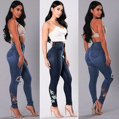 USA WOMENS PLUS SIZE HIGH WAIST Distressed RIPPED BLUE SKINNY DENIM JEANS PANTS