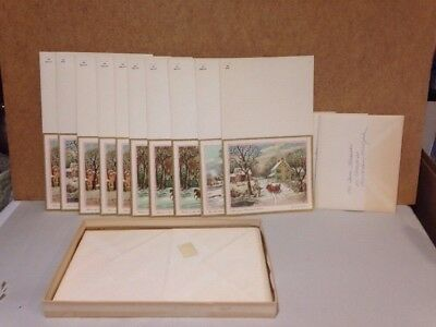VTG CURRIER & IVES CHRISTMAS GREETING CARDS in Box 10 unused w/envelope