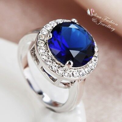18K White Gold Plated Made With Swarovski Element Round Cut Shiny Sapphire Ring