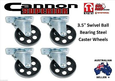 """NEW 3.5"""" Swivel Ball Bearing Steel Caster Wheels with Top Plate (Set of 4)"""