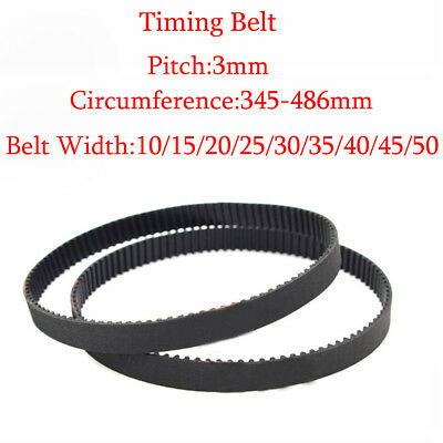 HTD 3M 345~486mm Closed Timing Belt Pulley Pitch 10~50mm Width Rubber Drive Belt