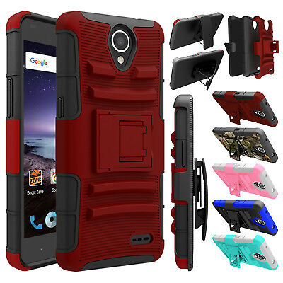 Hybrid Shockproof Holster Belt Clip Hard Case Cover For ZTE Overture 3 / Maven 3