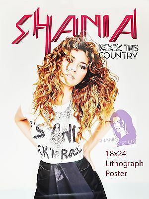 Shania Twain Rock This Country Tour RARE VIP Lithograph Poster + now w/FREE GIFT