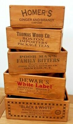 Wooden storage vintage antique style crate box (multiple sizes/designs)