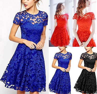 UK Plus Size Womens Lace Mini Dress Ladies Evening Party Cocktail Bridesmaids