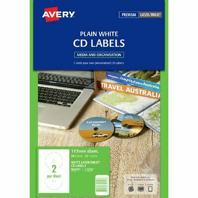 Avery L7676 Labels Laser CD/DVD Pintable Labels 25 Sheet/ 50 Pack - 960101