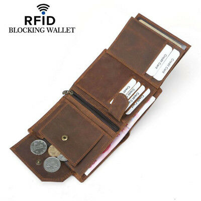 Anti-thief RFID Real Leather Mens Wallet ZIPPER Coin Purse Vintage Retro Style
