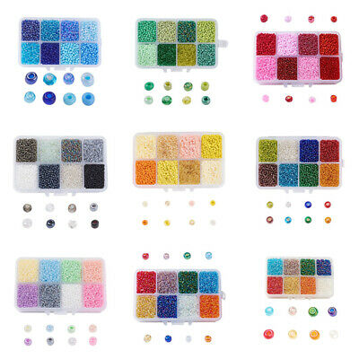 1Box 12/0 Glass Seed Beads Ceylon Round Loose Spacer Beads 2mm Mixed Color