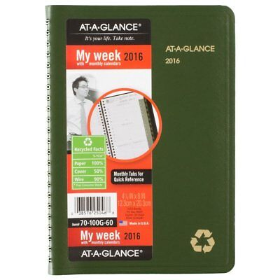 AT-A-GLANCE Weekly / Monthly Appointment Book / Planner 2016, Recycled, 4.88 x 8