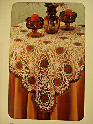 Crochet Pattern Christmas Table Topper Tablecloth Decor Instructions