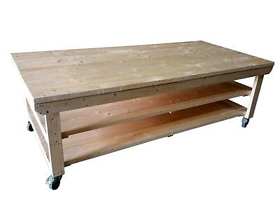 Wooden Workbench with Wheels - 4ft to 8ft x 4ft Depth - Garage, Workshop Table