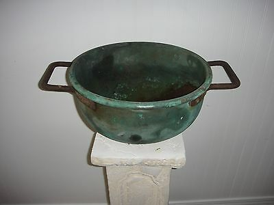 1800's Antique Copper Couldron~Kettle Pot~Iron Handles~Deep Beautiful Patina