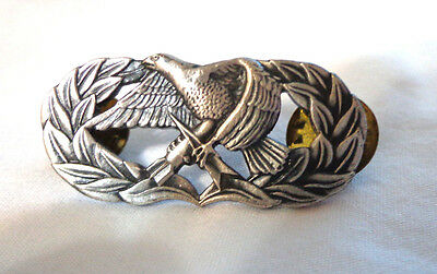 vintage US military service award pin,sterling