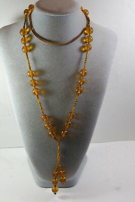 Antique Vintage Chinese Carved Amber Peking Glass  Bead Court  Necklace Silk Cor