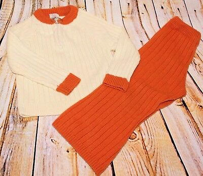 Vtg 70s Montgomery Ward Boy Knit Sweater Bell Bottom Flare Pant Set Outfit Sz 3