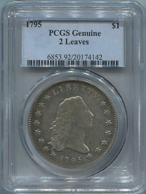 1795 Flowing Hair Bust Dollar 2 Leaves, PCGS. VF/XF