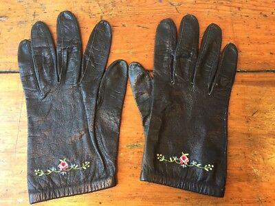 Vintage Black Leather Gloves Womens Size 6.5 Driving Embroidered Floral