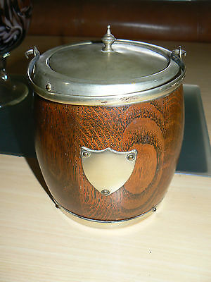 Vintage Wood and Brass ice bucket biscuit barrel