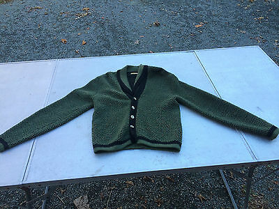 RARE VTG 50s 60s DOUBLE SHAWL NECK SWEATER CARDIGAN BUTTON UP SZ 40 SMALL GREEN
