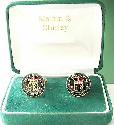 1947 Six pence cufflinks  real coins in Black & Red
