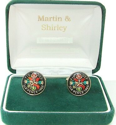 1966 Sixpence cufflinks from real coins in Black & Colours & Gold