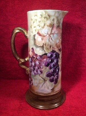 Antique Jean Pouyat Hand Painted Limoges Tankard Pitcher c.1890-1932, L318