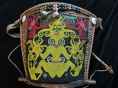 """orig $499-DAYAK BABY CARRIER W/AMULETS WOW!!, EARLY 1900S16"""""""